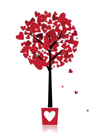 reflection of life: Tree of love in pot for your design