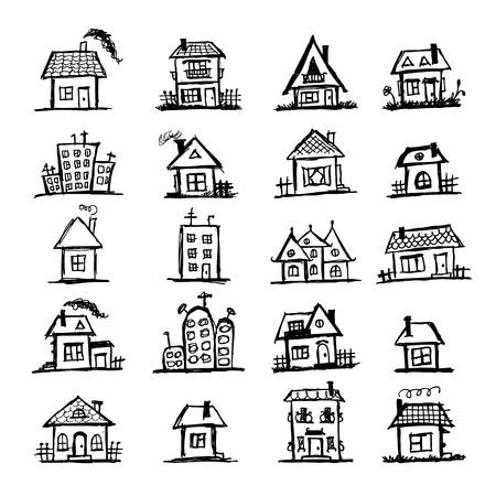 sketch: Schets van kunst huizen voor uw ontwerp Stock Illustratie