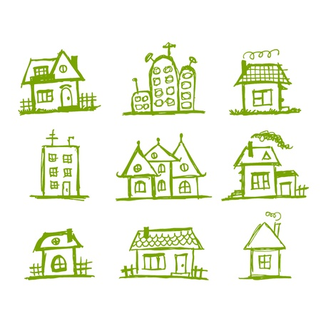 Esbozo de casas de arte para su diseño Ilustración de vector