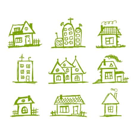 Skizze der Kunst Häuser für Ihren Entwurf Vektorgrafik