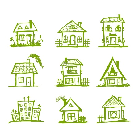Sketch of art houses for your design Stock Vector - 9348459
