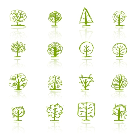 Set of sketch trees for your design Stock Vector - 9348530