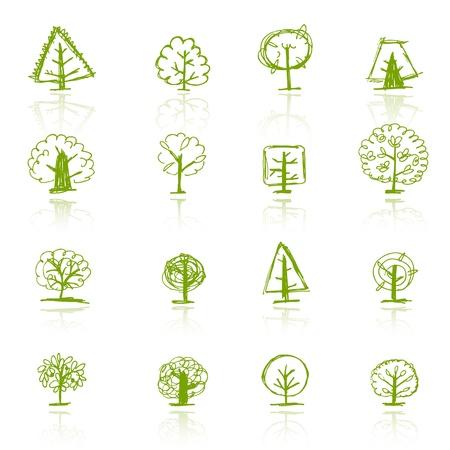 leafs: Serie di sketch alberi per il vostro disegno