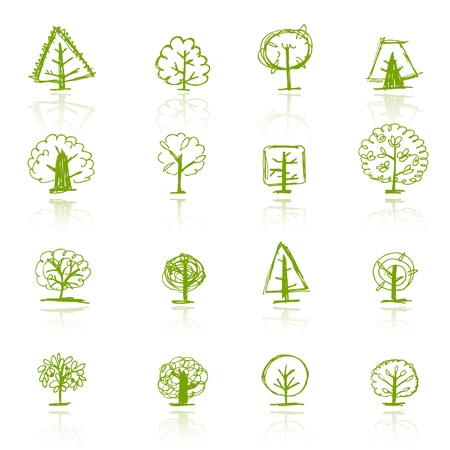 autumn leafs: Set of sketch trees for your design