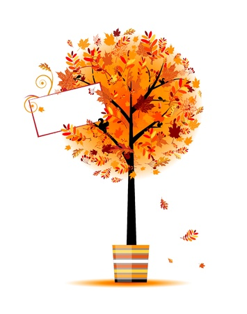 red squirrel: Beautiful autumn tree in pot for your design