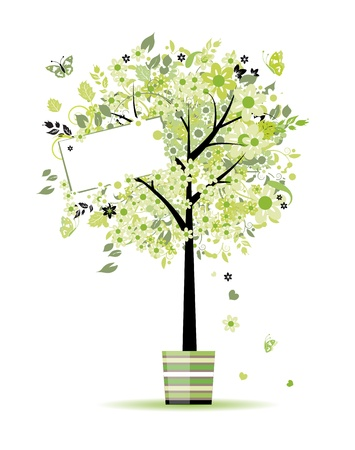 Beautiful spring tree in pot for your design  Vector