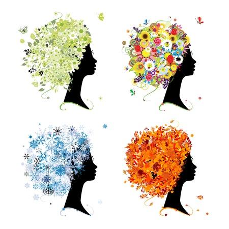 Four seasons - spring, summer, autumn, winter. Art female head for your design Vector