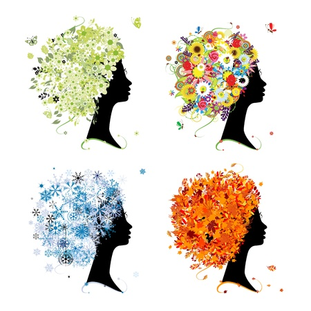 rowan: Four seasons - spring, summer, autumn, winter. Art female head for your design Illustration