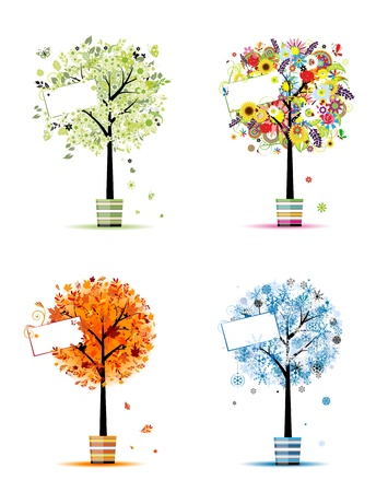 rowan tree: Four seasons - spring, summer, autumn, winter. Art trees in pots for your design