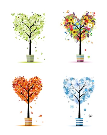 snow fall: Four seasons - spring, summer, autumn, winter. Art trees in pots for your design