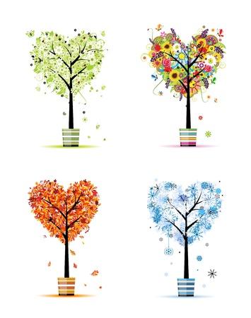 herbstblumen: Vier Jahreszeiten - Fr�hling, Sommer, Herbst, winter. Kunst B�ume in T�pfe f�r Ihren Entwurf