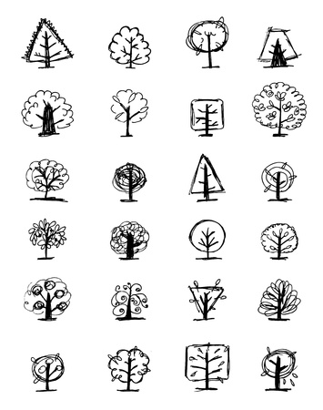 hand pencil: Set of sketch trees for your design