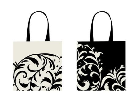 Shopping bag design, floral ornament  Stock Vector - 9348149