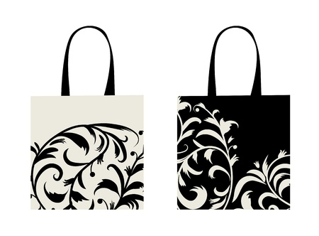 contain: Shopping bag design, floral ornament  Illustration