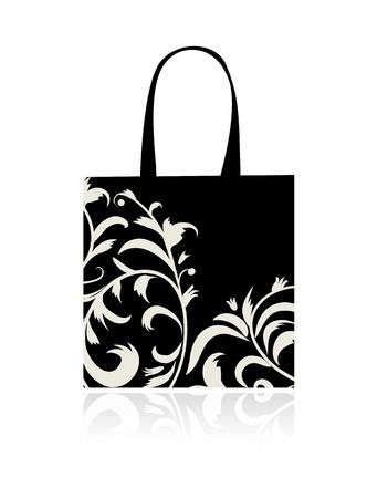 Shopping bag design, floral ornament  Vector