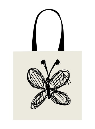 Shopping bag design, funny butterfly sketch Vector