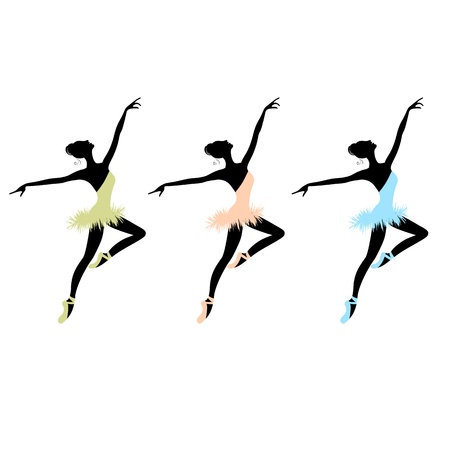 flexible girl: Ballet dancers for your design Illustration