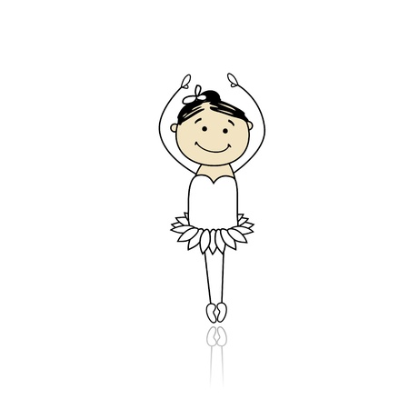 flexible girl: Cute little ballet dancer for your design Illustration