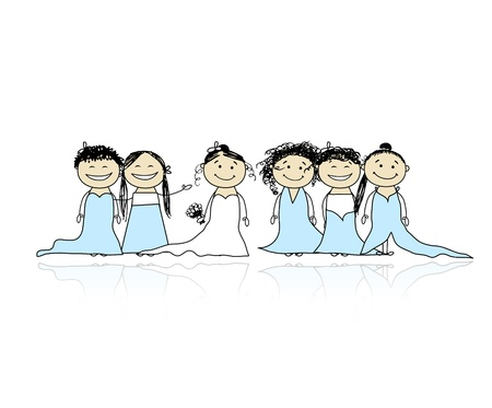 Bride with bridesmaids for your design Vector
