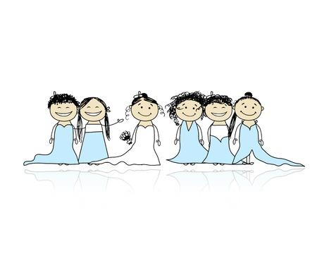 Mariée avec des demoiselles d'honneur pour votre conception