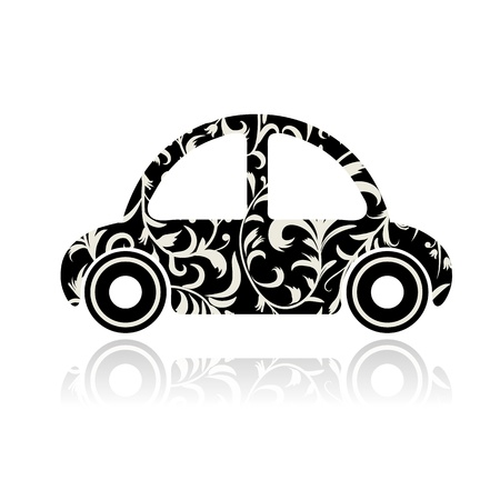 Vintage black car with floral ornament for your design  Vector