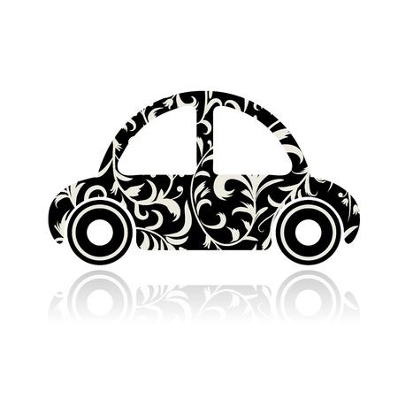 Vintage black car with floral ornament for your design  Vector
