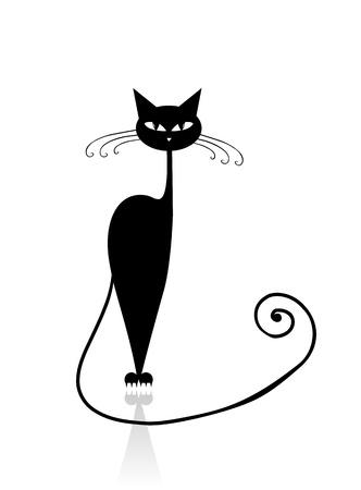 black cat silhouette: Black cat silhouette for your design