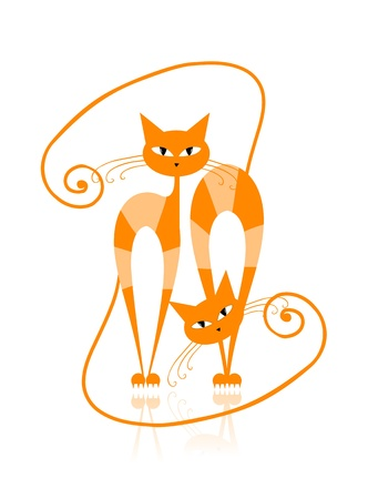 Graceful orange striped cat for your design  Vector