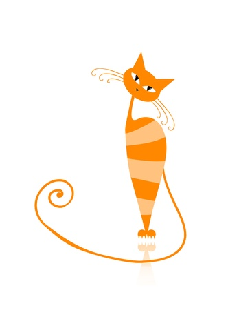 pussycat: Graceful orange striped cat for your design