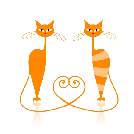 cat walk: Graceful orange striped cat for your design