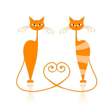 silhouette gatto: Grazioso gatto a righe arancia per il vostro disegno