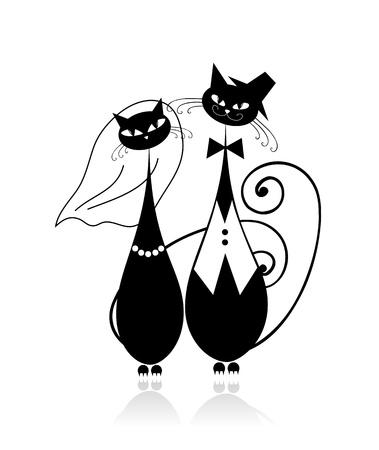 Novio y la novia, gato de boda para el diseño