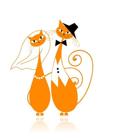 Novio y la novia, gato de boda para el diseño Vectores
