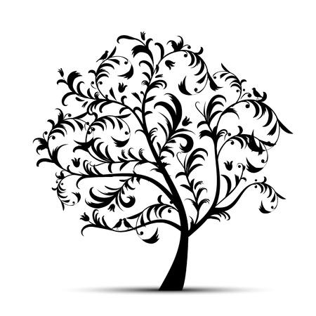 �rboles con pajaros: Arte negro, hermosa silueta de �rbol
