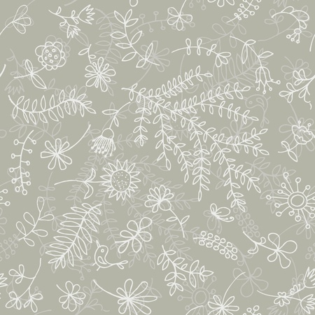 Floral ornament sketch, seamless background for your design Vector