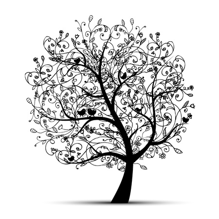 bark: Art tree beautiful, black silhouette for your design  Illustration