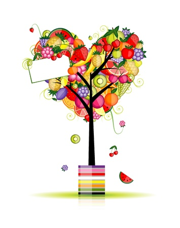 apple slice: Fruit tree in shape of heart for your design Illustration