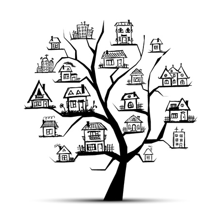Tree with houses on branches Vector