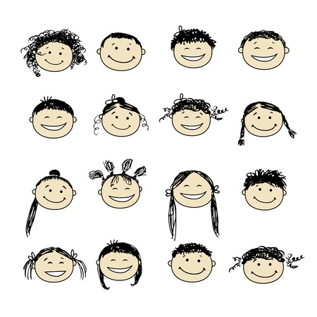 Smiling people icons for your design Stock Vector - 9348475