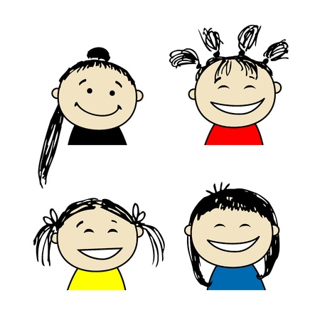 curly hair child: Smiling people icons for your design