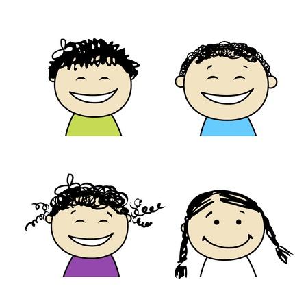 Icônes de gens souriant pour votre conception Vecteurs