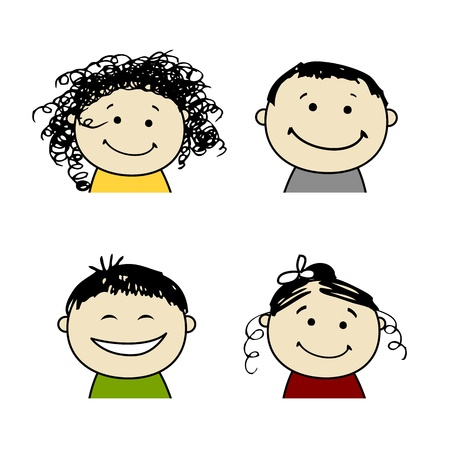 black family smiling: Smiling people icons for your design
