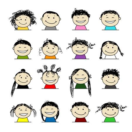 Smiling people icons for your design Stock Vector - 9348480