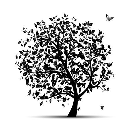 Art tree black silhouette for your design Stock Vector - 9348559