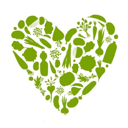 saludable: Vida sana - en forma de coraz�n con verduras para su dise�o Vectores