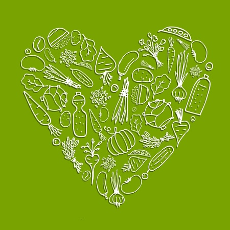 cartoon tomato: Healthy life - heart shape with vegetables for your design Illustration