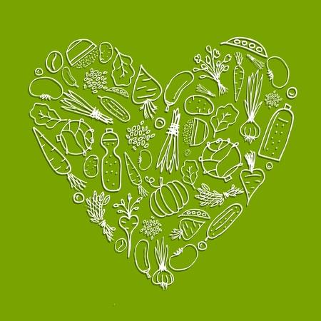 Vida sana - en forma de corazón con verduras para su diseño Vectores