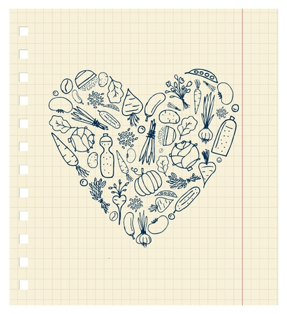 Healthy life - heart shape with vegetables for your design Vector