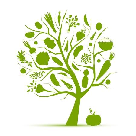 Gezond leven - groene boom met groenten voor uw ontwerp Vector Illustratie