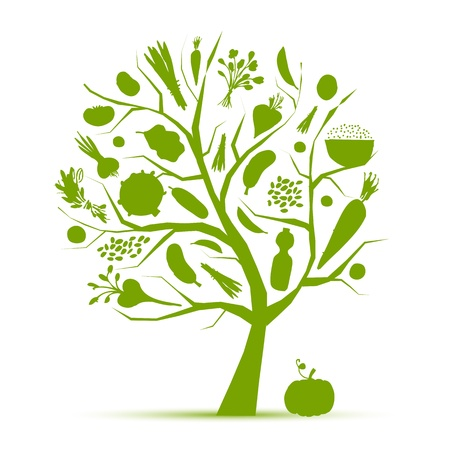 Healthy life - green tree with vegetables for your design Stock Vector - 9348453